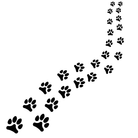 Weg van dieren zwarte voetafdrukken, hond of kattenpad draait naar rechts. Vectorillustratie geïsoleerd op witte achtergrond