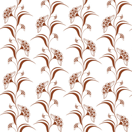 Ornamental seamless pattern with brown henna vertical flowers in indian mehndi style. Vector illustration isolated on white background