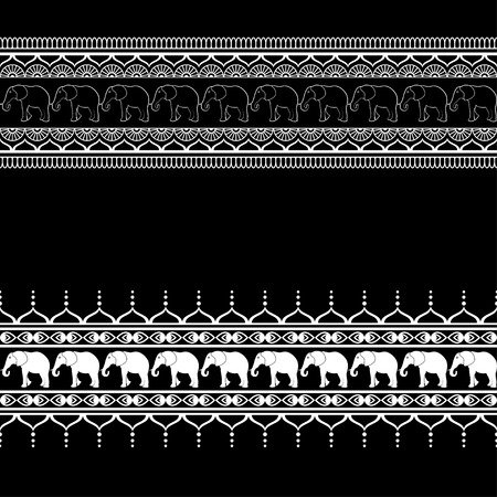 Mehndi border pattern elements with elephants and flower line lace in Indian style isolated on black background. Vector illustration Vectores
