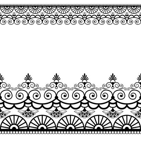 Border pattern elements with flowers and lace lines in Indian mehndi style isolated on white background. Vector illustration 向量圖像