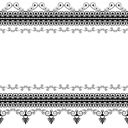 Seamles border pattern elements with flowers and lace lines in Indian mehndi style isolated on white background. illustration