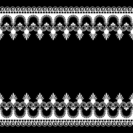 Border pattern Indian elements with flowers and lace lines in mehndi style for card and tattoo isolated on black background.  Vector illustration 向量圖像