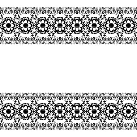 Mehndi Henna line lace floral element pattern card for tattoo on white background. Vector illustration
