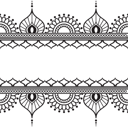 Mehndi Henna line lace element with circles and waves pattern card for tattoo on white background