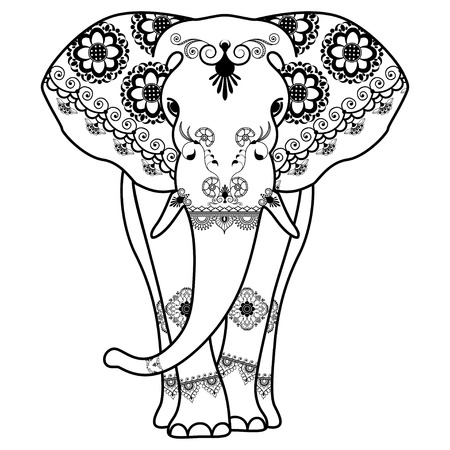 Mehndi tattoo Elephant decorated in Indian style. Vector illustration isolated on white background