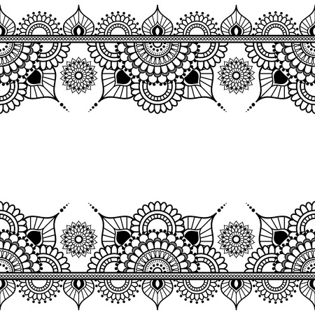 Pattern seamless border elements in Indian mehndi style for tattoo or card isolated on white background.  Vector illustration 向量圖像