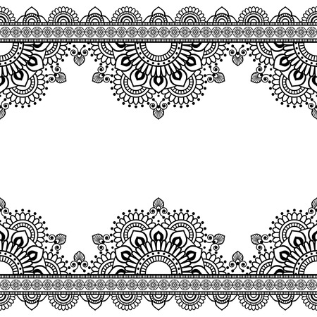 Seamless Pattern Indian mehndi border elements with flowers for card and tattoo on white background.  Vector illustration Illustration