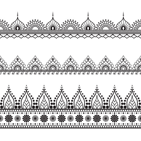 Border elements in Indian mehndi  style for card or tattoo. Vector illustration isolated on white background.  イラスト・ベクター素材