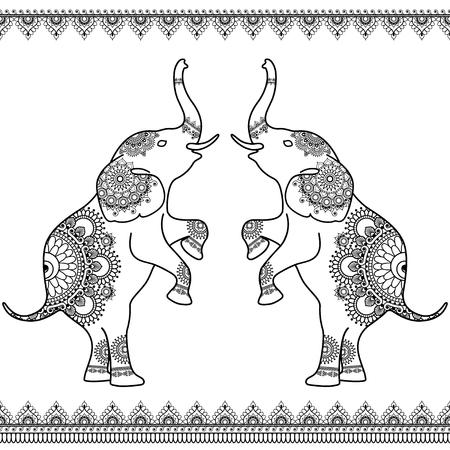 Dos Elefantes De Pie Con Fronteras Del Cordón De Línea Transparente ...