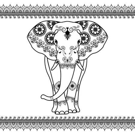 Elephant with border elements in ethnic mehndi style. Vector black and white frontal elephants illustration isolated on white background Illustration