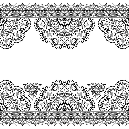 Indian, Mehndi Henna line lace elements with flowers pattern card for tattoo on white background. Vector illustration