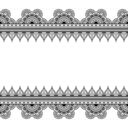Border seamless pattern elements with flowers and lace lines in Indian mehndi style for card and tattoo isolated on white background. Vector illustration