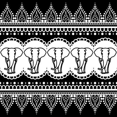 Mehndi henna border seamless pattern element with elephants and flower line lace in Indian style isolated on black background. Black and white illustration Foto de archivo