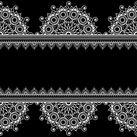 Border seamless pattern with Indian floral elements and lace lines in mehndi style for card and tattoo. Vector illustration isolated on black background. 向量圖像