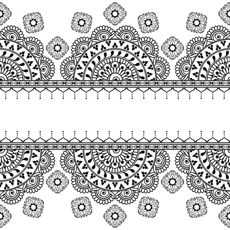 Border seamless element with flowers and laces in Indian mehndi style for card and tattoo isolated on white background. Vector illustration isolated on white background