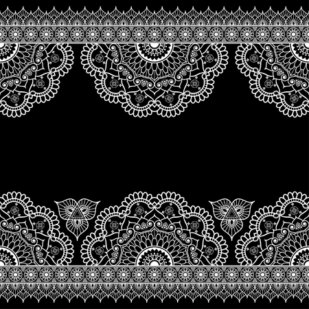 Indian, Mehndi Henna white line lace element with flowers pattern card for tattoo on black background. Vector illustration Illustration