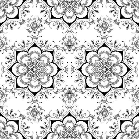 Fondo con mehndi florales artículos de decoración buta henna transparente de encaje en el estilo indio en el fondo blanco. Vectores de la boda floral elementos decorativos aislados.