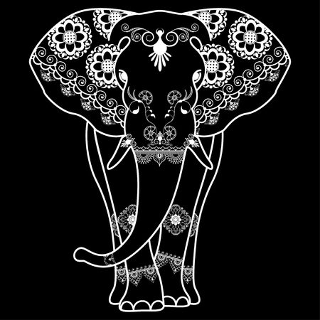 Mehndi tattoo Elephant decorated in Indian style. Vector illustration isolated on black background