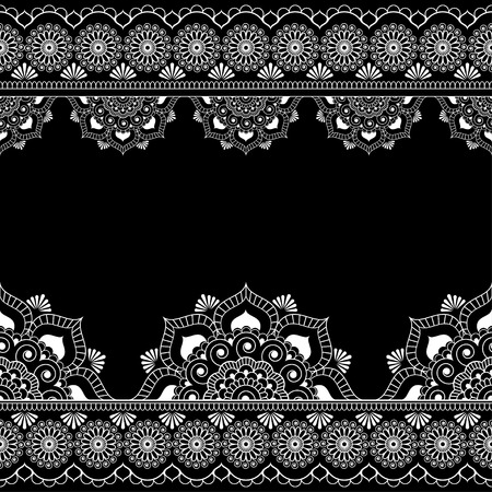 Border pattern mehndi elements with flower lace lines in Indian style for card and tattoo isolated on black background. Vector illustration 向量圖像