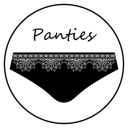 Black slip panties with frill for flat icon. Vector illustration isolated on white background