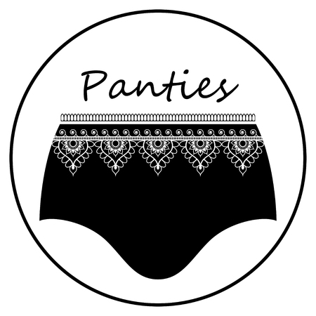 Black retro panties with frill for flat icon. Vector illustration isolated on white background