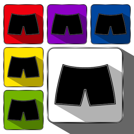 Set of Glossy Glass Underwear Icons or Buttons With Various Color Highlights with Shadows. Vector illustration isolated on white background.