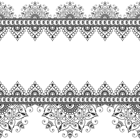 Indian, Mehndi Henna line lace element with circles pattern card for tattoo. Illustration