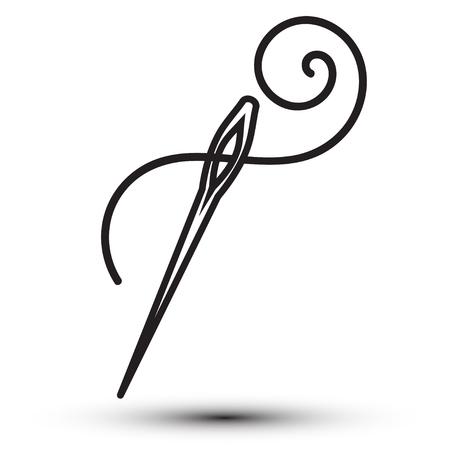 Needle flat web design icon art picture. Vector illustration isolated on white background