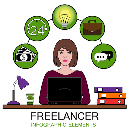 Woman freelancer at work. Vector illustration of set infographic concept.