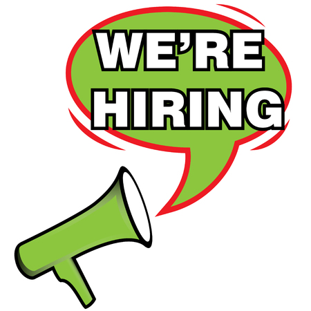 now hiring: Megaphone and Text We Are Hiring icon. Vector illustration isolated on white background