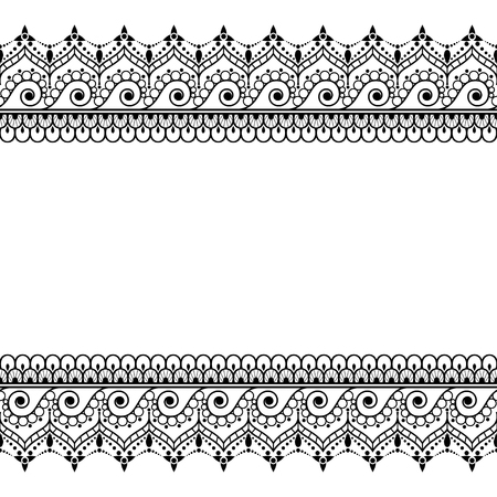 Indian, Mehndi Henna line lace element with circles pattern card for tattoo. Vectores