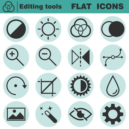 customise: Set of flat editing icons. Contrast, brightness, hue, color, filter, curve, levels symbols. Vector illustration isolated on white background