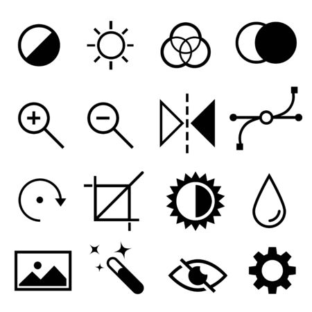 customise: Set of flat black and white editing icons. Contrast, brightness, hue, color, filter, curve, levels symbols. Vector illustration isolated on white background