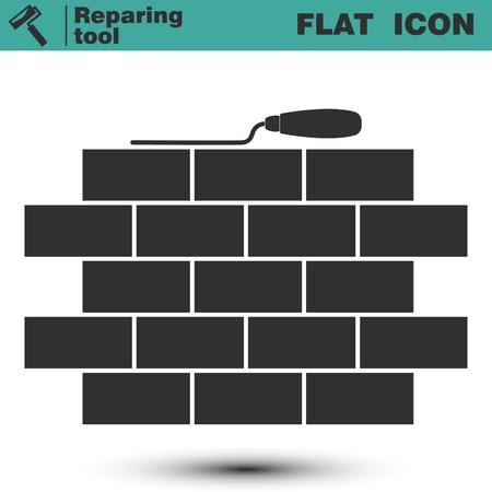 laying: Brickwork and building trowel icon. Masonry flat logo. Simple picture of brick masonry. Vector illustration isolated on white background