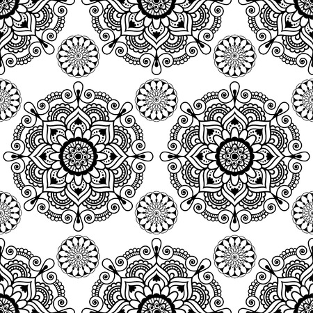 Seamless background with mehndi floral henna lace buta decoration items on white background in Indian style. Vector floral wedding decorative elements isolated.