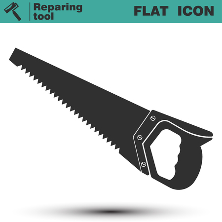 Hand manual saw flat icon as a repair tool. Vector illustration isolated on white background Illustration