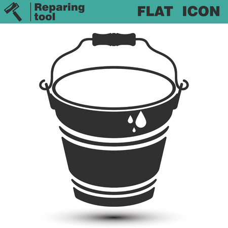 Bucket of water or glue for wallpaper vector flat icon. Construction working tool item. Vector illustration isolated on white background Ilustrace