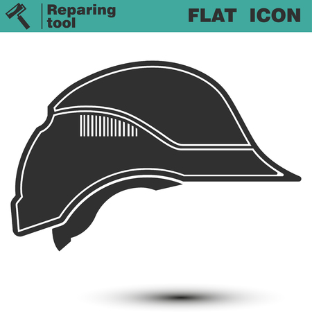 hard hat icon: Safety construction helmet. Vector illustration of hard hat icon isolated on white background