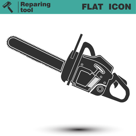 Chainsaw vector flat icon. Construction working tool item. Vector illustration isolated on white background Vettoriali