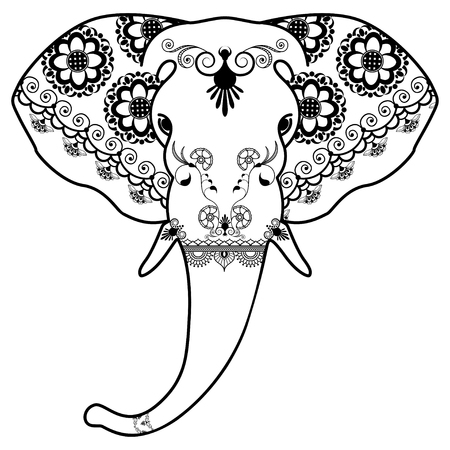 Black and white elephants head in Mehndi Indian style. Vector illustration of elephants head isolated on white background