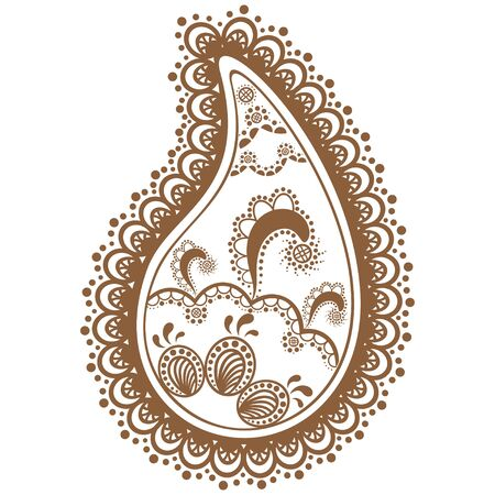 Brown and white lace buta decoration item on white background. Vector floral wedding decorative element isolated.