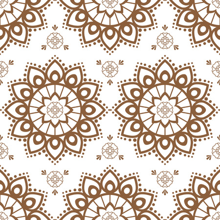 Seamless brown pattern mehndi background with flowers in indian style with lace buta decoration items on white background. Vector floral wedding decorative elements isolated. 向量圖像
