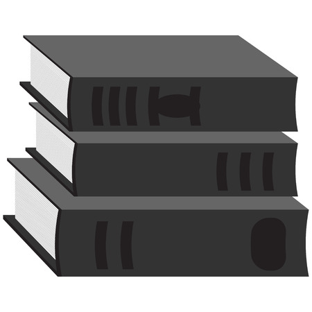 Books icon black and white Vector isolated on white background