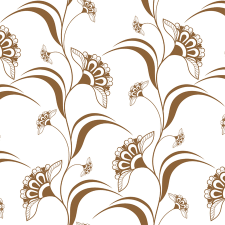 Ornamental seamless brown vertical borders in henna mehndi style. Vector illustration isolated on white background