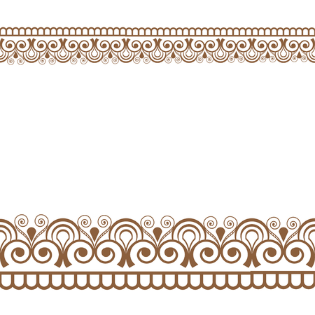 Mehndi Henna line lace seamless element with flowers pattern card for tattoo on white background