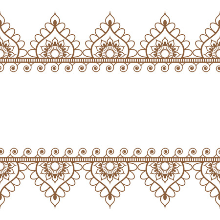 Pattern brown border elements in Indian mehndi style for tattoo or card isolated on white background. Vector illustration Ilustração
