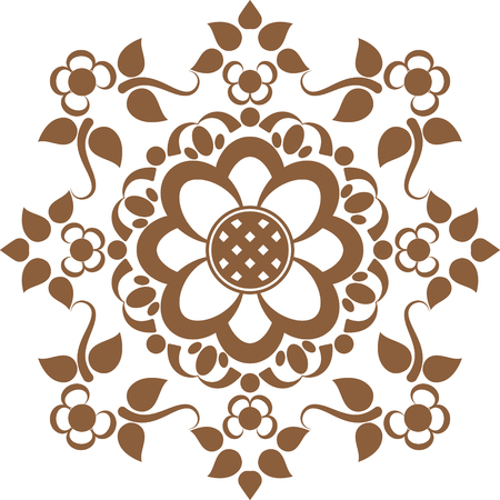Brown tattoo mandala flower in Indian henna mehndi style. Vector illustration isolated on white background Illustration