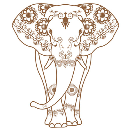 Mehndi tattoo Brown Henna Elephant decorated in Indian style. Vector illustration isolated on white background