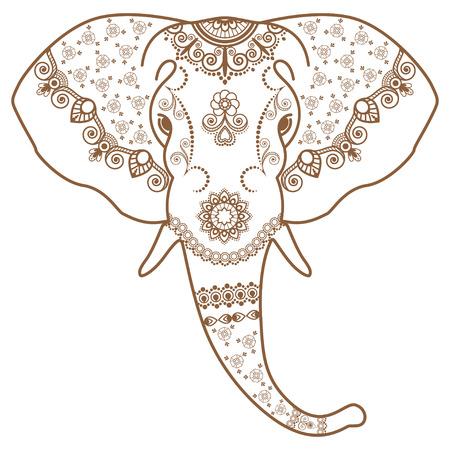 La testa dell'elefante di Brown e bianco nello stile dell'indiano di Mehndi. Illustrazione di vettore isolata su fondo bianco