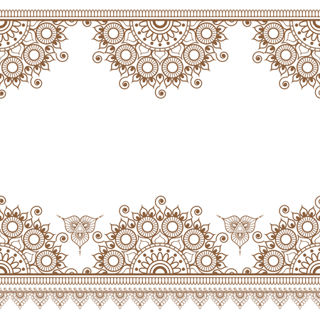 Seamless brown henna pattern mehndi borders in Indian style with floral elements for tattoo or card on white background. Vector illustration 向量圖像
